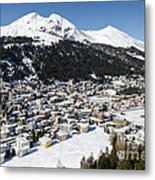 Davos Platz Mountains Parsenn And Town Metal Print by Andy Smy