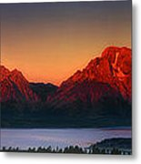 Dawn Light On The Tetons Grant Tetons National Park Wyoming Metal Print
