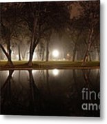 Dawn Mist Rising At Sycamore Pool  Metal Print
