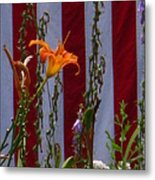 Daylily And Old Glory Metal Print