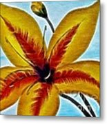Daylily Expressive  Brushstrokes Metal Print