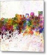 Dayton Skyline In Watercolor Background Metal Print