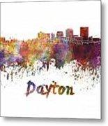 Dayton Skyline In Watercolor Metal Print