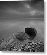 Dead Sea Sunrise Black And White Metal Print by David Morefield