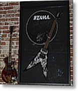 Death By Stereo Band Memorabilia-autographed Guitar Metal Print by Renee Anderson