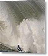 Death-defying Ride On A Surfboard Metal Print