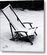 Deck Chair Under The Snow Metal Print