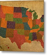 Declaration Of Independence Word Map Of The United States Of America Metal Print