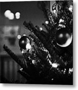 decorated christmas tree looking out of window to snow covered scene in small rural village of Forge Metal Print
