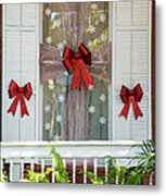 Decorated Christmas Window Key West Metal Print