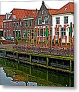 Decorations For Orange Day To Celebrate The Queen's Birthday In Enkhuizen-netherlands Metal Print