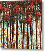 Decorative Abstract Floral Bird Landscape Painting Forest Of Dreams II By Megan Duncanson Metal Print by Megan Duncanson