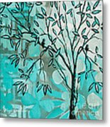 Decorative Abstract Floral Birds Landscape Painting Bird Haven I By Megan Duncanson Metal Print