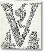 Decorative Letter Type V 1650 Metal Print