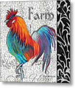 Decorative Rooster Chicken Decorative Art Original Painting King Of The Roost By Megan Duncanson Metal Print