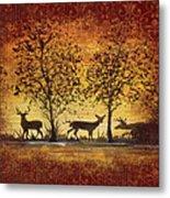 Deer At Sunset On Damask Metal Print