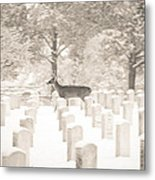 Deer In Snow Metal Print