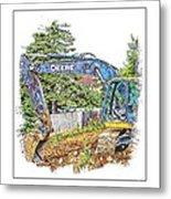 Deere For Hire2 - Excavator - Digger Metal Print