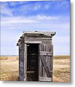 Defunct Outhouse At Rural Elementary School Metal Print