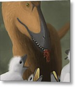 Deinonychus Dinosaur Feeding Its Young Metal Print