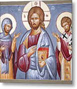 Deisis Jesus Christ St Anastasios And St Eleftherios Metal Print