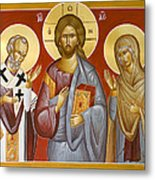 Deisis Jesus Christ St Nicholas And St Paraskevi Metal Print by Julia Bridget Hayes