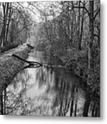 Delaware Canal In Black And White Metal Print