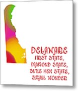 Delaware State Map Collection 2 Metal Print
