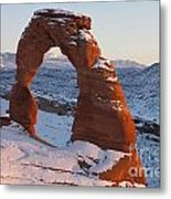 Delicate Arch With Snow Arches National Park Utah Metal Print
