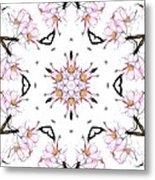 Delicate Cherry Blossom Fractal Kaleidoscope Metal Print