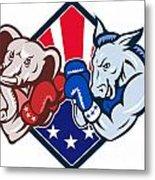 Democrat Donkey Republican Elephant Mascot Boxing Metal Print