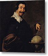Democritus, Or The Man With A Globe Oil On Canvas Metal Print