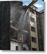 Demolition Cranes Dismantling A Building Metal Print