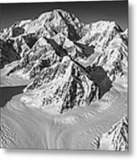 Denali And The Kahiltna Glacier Black And White Metal Print