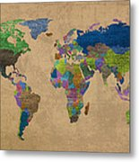 Denim Map Of The World Jeans Texture On Worn Canvas Paper Metal Print