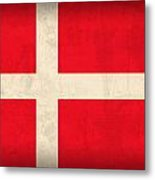 Denmark Flag Vintage Distressed Finish Metal Print by Design Turnpike
