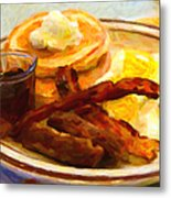 Denny's Grand Slam Breakfast - Painterly Metal Print by Wingsdomain Art and Photography