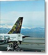 Denver Airport With Rockies In Background Metal Print