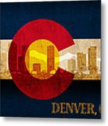 Denver Skyline Silhouette Of Colorado State Flag Canvas Metal Print