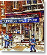 Depanneur Arret Eclair Verdun Rue Wellington Montreal Paintings Original Hockey Art Sale Commissions Metal Print