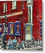 Depanneur Centre Pointe St Charles Montreal Verdun Paintings Hockey Art City Scenes Cspandau Metal Print