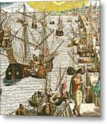 Departure From Lisbon For Brazil Metal Print by Theodore de Bry