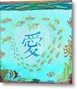 Depiction Of The Ocean With A School Of Fish Swimming Around A Heart Containing The Kanji Ai Meaning Metal Print