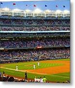 Derek Jeter Leads The Way As The Yankees Take The Field Metal Print