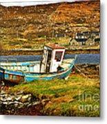 Derelict Fishing Boat On The Irish Coast Metal Print