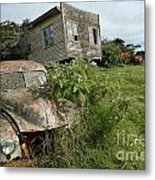 Derelict Morris And Old Truck On An Abandoned Farm Metal Print