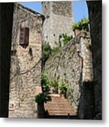 Desert Alley In San Gimignano Metal Print