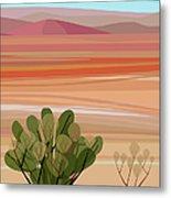 Desert, Cactus Brush, Mountains In Metal Print