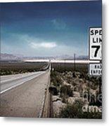 Desert Highway Road Sign Metal Print