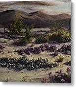 Desert In Bloom At Dusk Metal Print